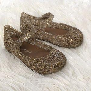 Mini Melissa Gold Glitter Jelly Weave Flats 9